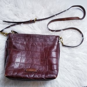 Fossil leather embossed crocodile crossbody purse